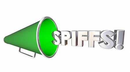 salespeople: Spiffs Bullhorn Megaphone Incentives Bonus Rewards 3d Illustration