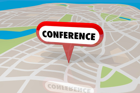 organiser: Conference Venue Location Map Pin Trade Show Event 3d Illustration