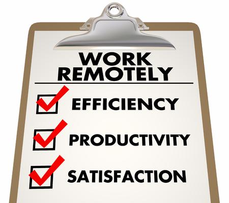 Work Remotely Advantages Checklist Efficiency Productivity 3d Illustration