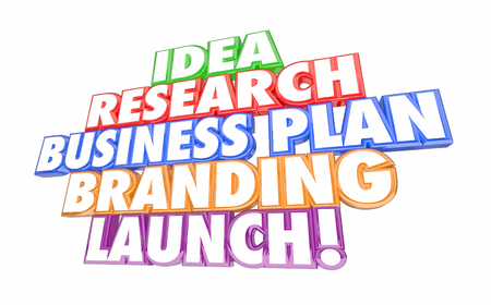 Idea Research Business Plan Marketing Launch New Business Steps 3d Illustration