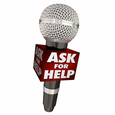 Ask for Help Get Advice Assistance Support Service Microphone 3d Illustration