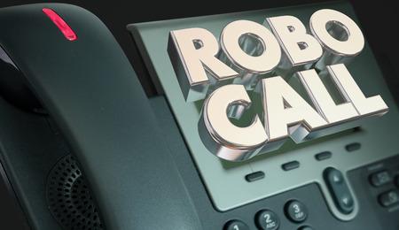 ロボの呼び出し電話スパム迷惑電話 3 d イラストレーションをマーケティング