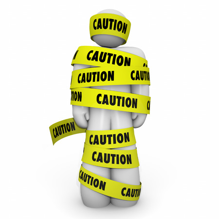 Caution Yellow Tape Wrapped Person Man 3d Illustration Stock Photo
