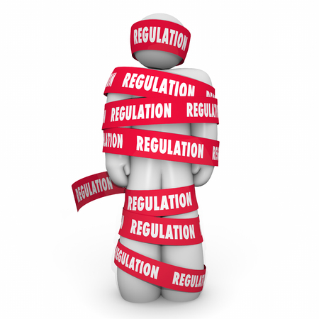 regulating: Regulation Man Wrapped Tape Business Regulated Rules 3d Illustration Stock Photo