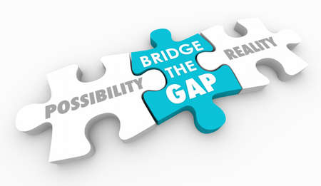 Bridge the Gap Between Possibility and Reality Puzzle Piece 3d Illustration Banco de Imagens