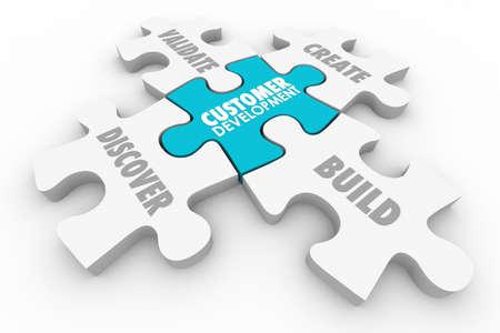 qualify: Customer Development Discovery Validation Process Puzzle 3d Illustration Stock Photo