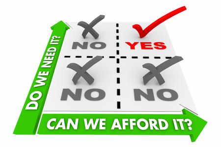 Budget Entscheidung Matrix Was brauchen Sie Vs leisten 3d Illustration