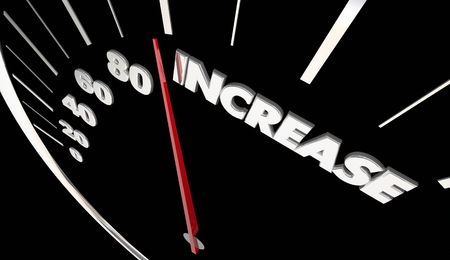car speed: Increase Speedometer More Results Improve Growth Rising 3d Illustration Stock Photo