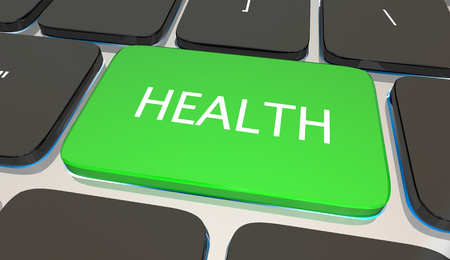 Health Button Computer Keyboard Fitness Nutrition Lifestyle Wellness 3d Illustration