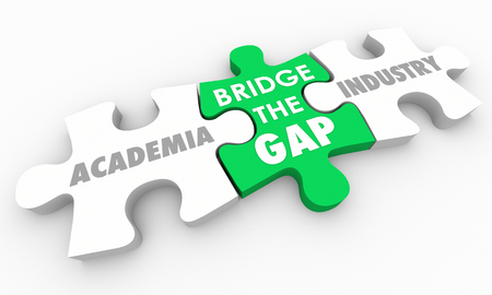 Bridge Gap Between Academia and Industry Puzzle 3d Illustration
