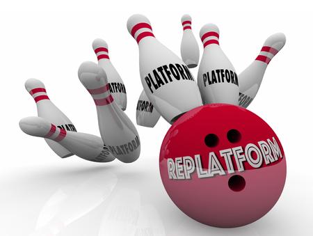 Replatform Website E-commerce Nieuw platform Wijzigen Bowling 3d illustratie