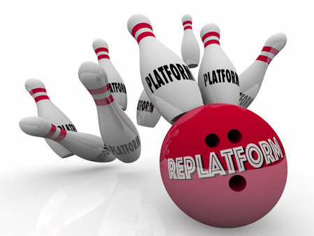 disruptive: Replatform Website Ecommerce New Platform Change Bowling 3d Illustration Stock Photo