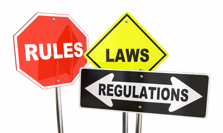 regulating: Rules Laws Regulations Stop Yield Road Signs 3d Illustration