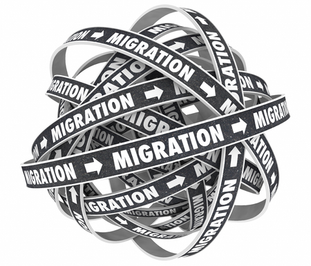 immigrate: Migration Road New Platform Moving Change Cycle 3d Illustration Stock Photo
