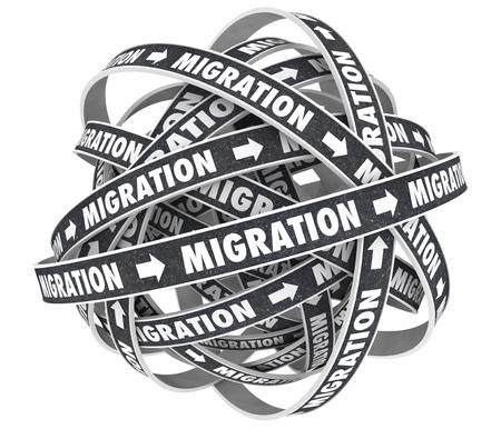 Migration Road New Platform Moving Change Cycle 3d Illustration Stock Photo