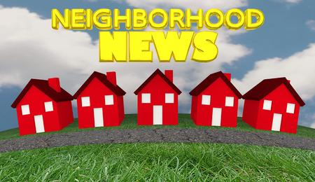 Wijk Nieuws Huizen Community Informatie Update 3D Illustratie