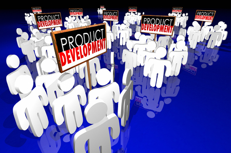 business team: Product Development Signs People Working New Business 3d Illustration