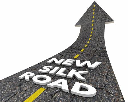 Neue Seidenstraße China Asien Handel Route Worte 3d Illustration Standard-Bild - 78646332