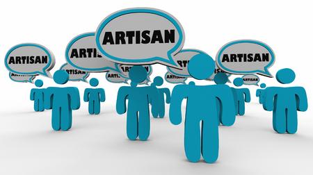 Artisan People Speech Bubbles Artists Crafts Hand Made 3d Illustration Stok Fotoğraf