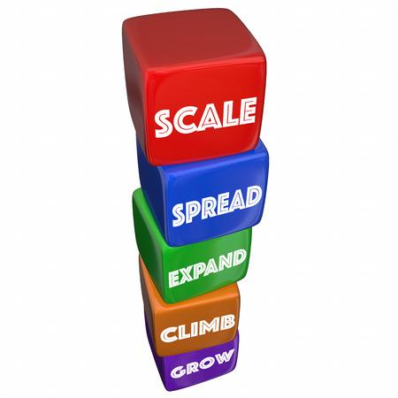 Schaal Vergroot Grow Blocks Steps Verhoog Woorden 3d Illustratie
