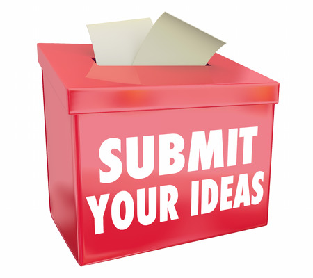 box: Submit Your Ideas Suggestion Box Send Proposals 3d Illustration