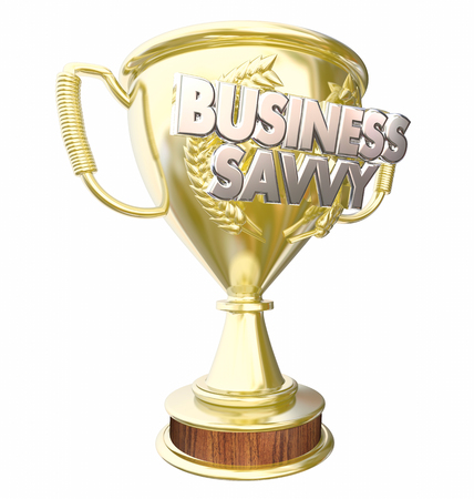 Business Savvy Trophy Prize Award Best Smart Entrepreneur 3d Illustration