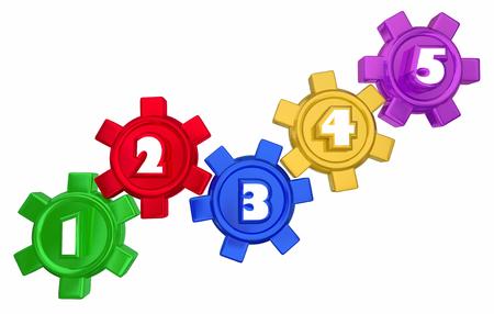 Stappen 1 tot en met 5 nummers Gears Process System Procedure 3d Illustration