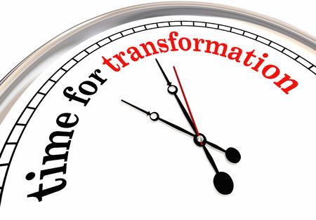 Time for Transformation Evolution Change Clock 3d Illustration