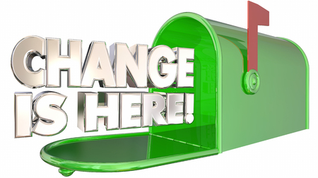 Change is Here Mailbox Message Alert Adapt 3d Illustration Stock Photo