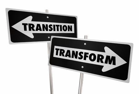 変換遷移道路道路標識変更 3 d イラストレーションを混乱させる