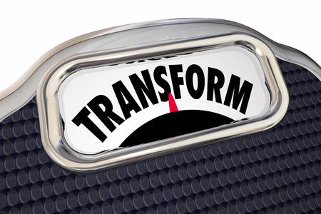 スケールを変換の食事療法が重量を失う健康を向上させる 3 d イラストレーションを移行 写真素材