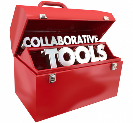 Collaborative Tools Toolbox Working Together Software Application 3d Illustration
