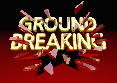 Ground Breaking Glass Shattering Words Big News 3d Illustration