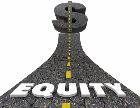 ownership equity: Equity Road Dollar Sign Investment Value Growth 3d Illustration