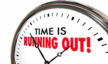Time is Running Out Clock Deadline Ending Soon 3d Illustration Stockfoto