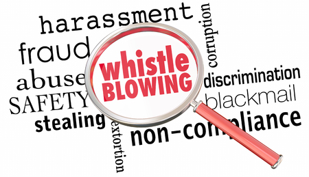 Whistle Blowing Report Crime Violation Breaking Laws Magnifying Glass 3d Illustration Banco de Imagens
