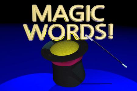 wave: Magic Words Command Magician Hat Wand 3d Illustration