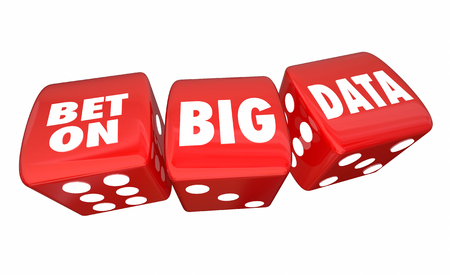 digital background: Bet on Big Data Rolling Dice Information Database Service 3d Illustration