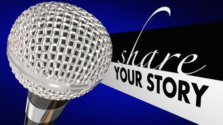 あなたの物語を共有マイク スピーカーを伝える視点 3 d イラストレーション