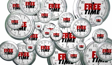 Libero tempo libero momenti orologi volanti illustrazione 3D Archivio Fotografico - 79288307