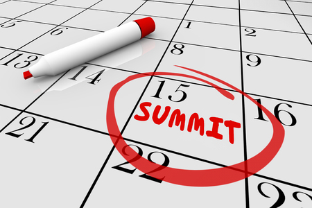 pen and marker: Summit Meeting Day Date Circled Calendar 3d Illustration