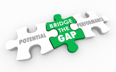 Bridge the Gap Between Potential and Performance Puzzle 3d Illustration Standard-Bild