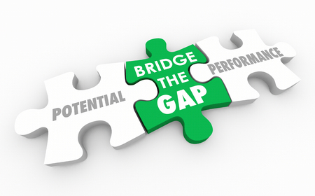 Bridge the Gap Between Potential and Performance Puzzle 3d Illustration Stockfoto