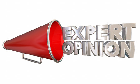 Expert Opinion Megaphone Bullhorn Words 3d Illustration Фото со стока