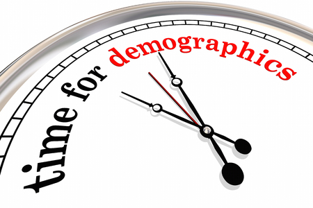 Time for Demographics Clock Words Research Audience 3d Illustration Stock fotó