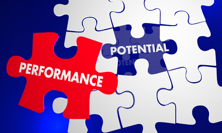 piece: Performance Potential Puzzle Piece Fill Gap Words 3d Illustration Stock Photo