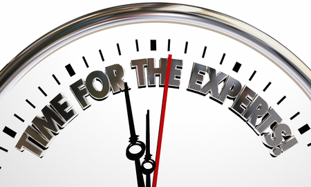 Time for the Experts Clock Words 3d Illustration Stock Photo