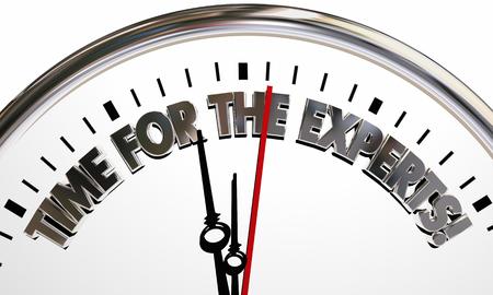 Tijd voor de Experts Clock Words 3d Illustratie Stockfoto
