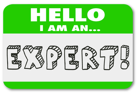 Hello I Am An Expert Name Tag Sticker Illustration Фото со стока - 80247526