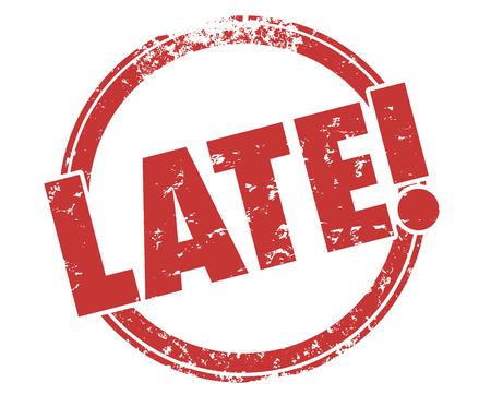 늦은 라운드 스탬프 기한 초과 경고 일러스트레이션